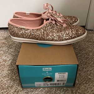 Kate Spade Keds Rose Gold Glitter Sneakers 8.5
